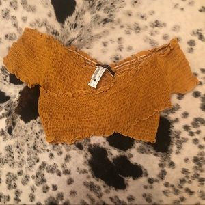 Yellow criss cross crop top - NWT